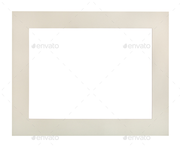 wide flat white passe-partout for picture frame - Stock Photo - Images