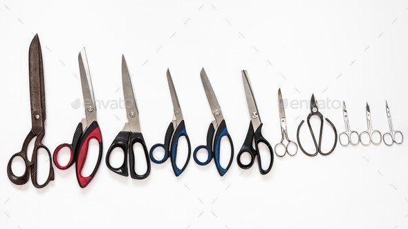 top view of line from various scissors - Stock Photo - Images