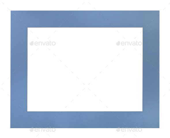 wide flat blue passe-partout for picture frame - Stock Photo - Images