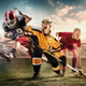 Multi sports collage about ice hockey, soccer and American football players at stadium - PhotoDune Item for Sale
