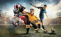 Multi sports collage about ice hockey, soccer and American football screaming players at stadium - PhotoDune Item for Sale