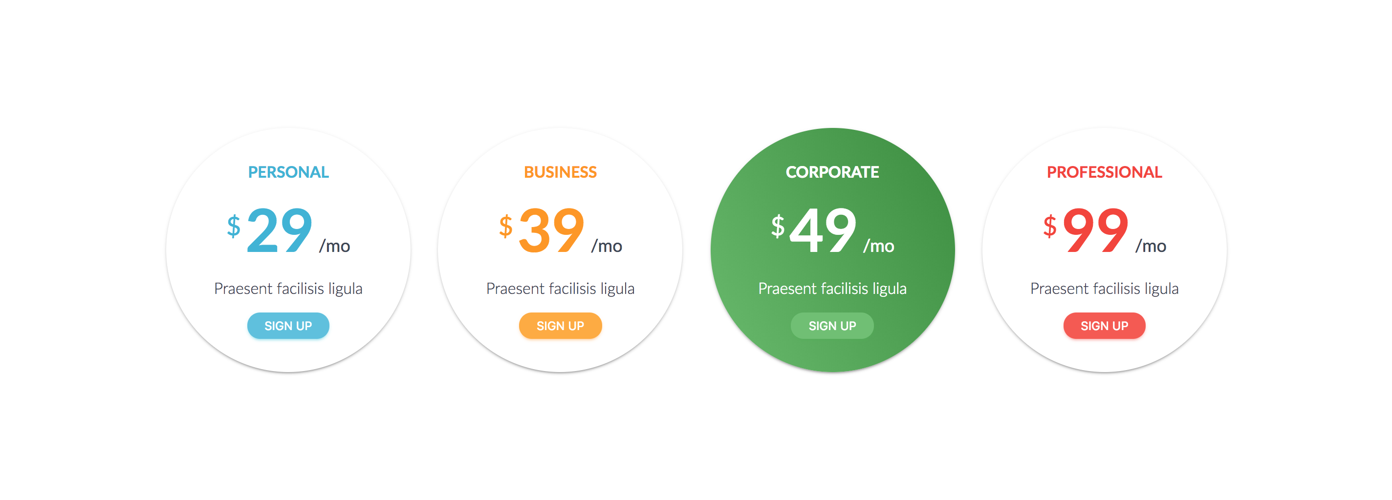 Circular - Responsive Round Pricing Tables