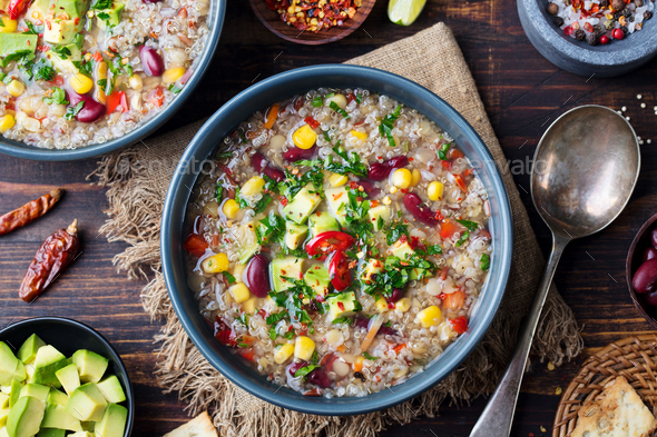 Vegetable quinoa soup with avocado, corn, beans. - Stock Photo - Images