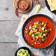 Mexican tomato, bean, bell pepper soup in bowl. - PhotoDune Item for Sale
