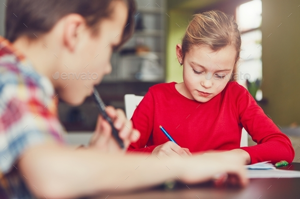 Learning at home - Stock Photo - Images
