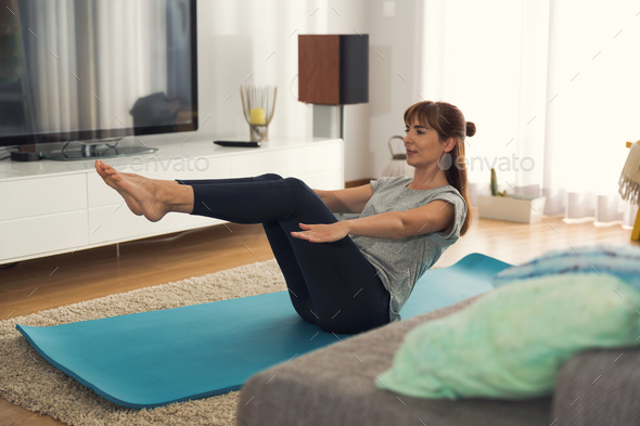 Doing exercise at home - Stock Photo - Images