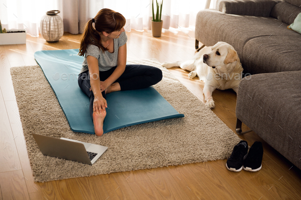 Doing exercise with my lazy dog - Stock Photo - Images
