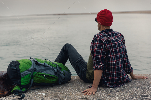 Man Traveling Backpack - Stock Photo - Images