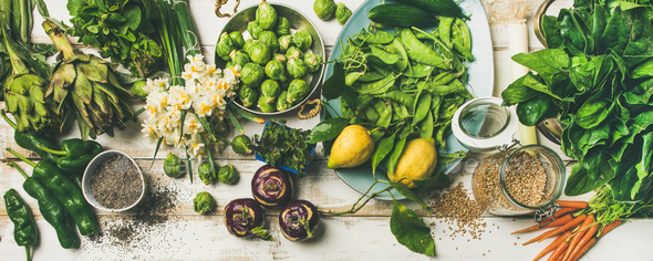 Spring healthy vegan food cooking ingredients, top view - Stock Photo - Images