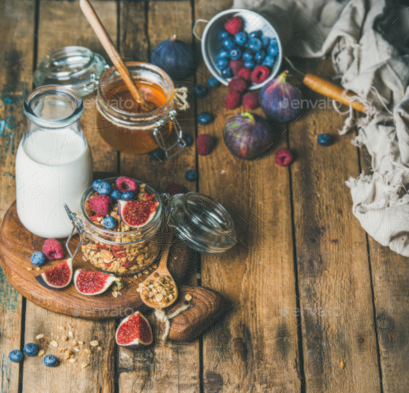 Vegetarian breakfast with Oatmeal granola and almond milk, copy space - Stock Photo - Images