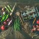 Winter vegetarian or vegan food cooking ingredients, top view - PhotoDune Item for Sale