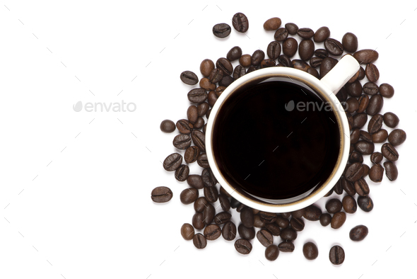 Warm cup of coffee top view - Stock Photo - Images