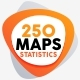 250 Map Infographic With Statistics - GraphicRiver Item for Sale