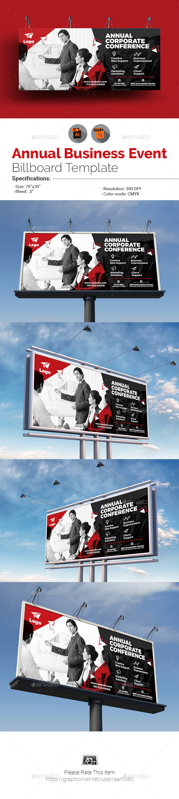Annual Business Event Billboard Template - Signage Print Templates