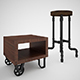 Industrial Steel Pipe Stool and sofa side-table