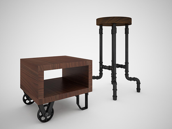 Industrial Steel Pipe Stool and sofa side-table - 3DOcean Item for Sale