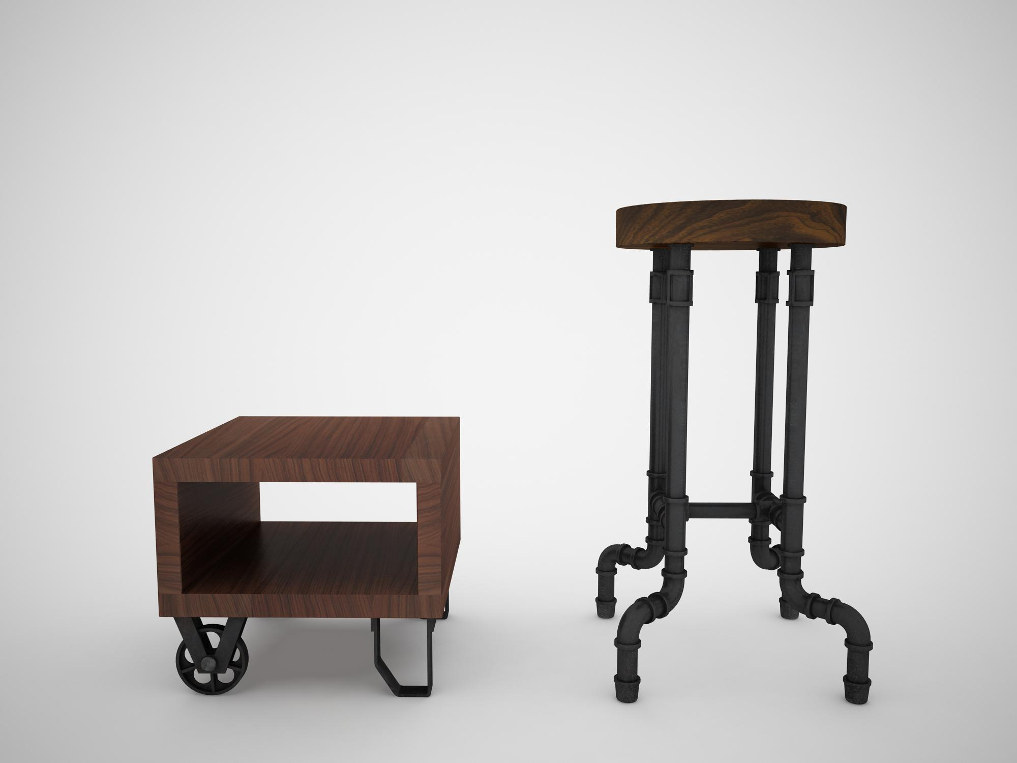 Industrial Steel Pipe Stool And Sofa Side Table