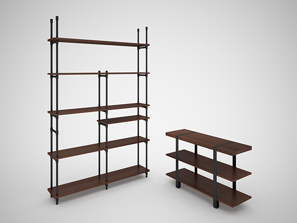 Industrial Steel Pipe shelves and Marley Sofa Table - 3DOcean Item for Sale