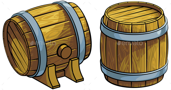 Set of Wooden Barrels - Man-made Objects Objects