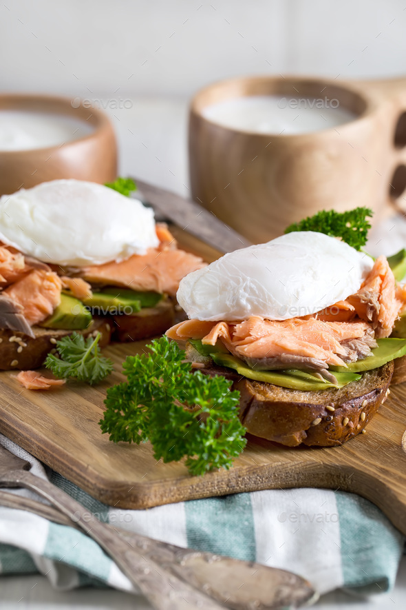Eggs benedict with salmon - Stock Photo - Images