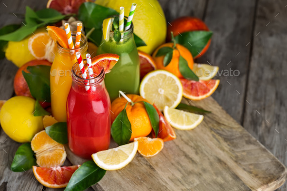 Orange, blood orange juice and lemonade - Stock Photo - Images