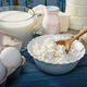 Dairy products on a blue table - PhotoDune Item for Sale