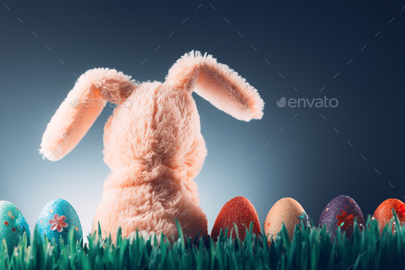 Easter background concept with bunny toy - Stock Photo - Images