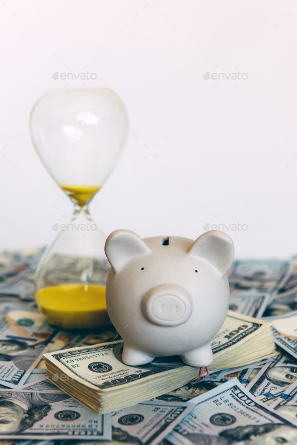 Piggy moneybox with dollar cash - Stock Photo - Images
