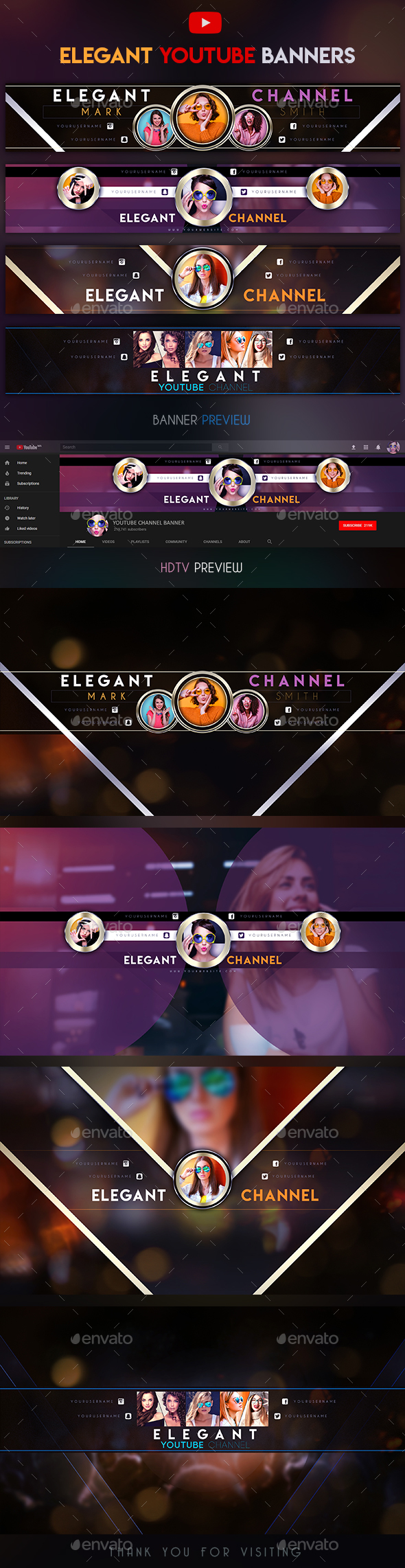 Elegant YouTube Banners - YouTube Social Media