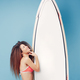 Portrait exotic girl posing with surfboard - PhotoDune Item for Sale