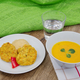 Vegetable slices and pea mash and carrot soup on a table - PhotoDune Item for Sale