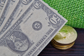 Dollar banknotes and Bitcoins on a table - PhotoDune Item for Sale