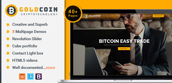 GoldCoin - Bitcoin Cryptocurrency HTML Template - Business Corporate