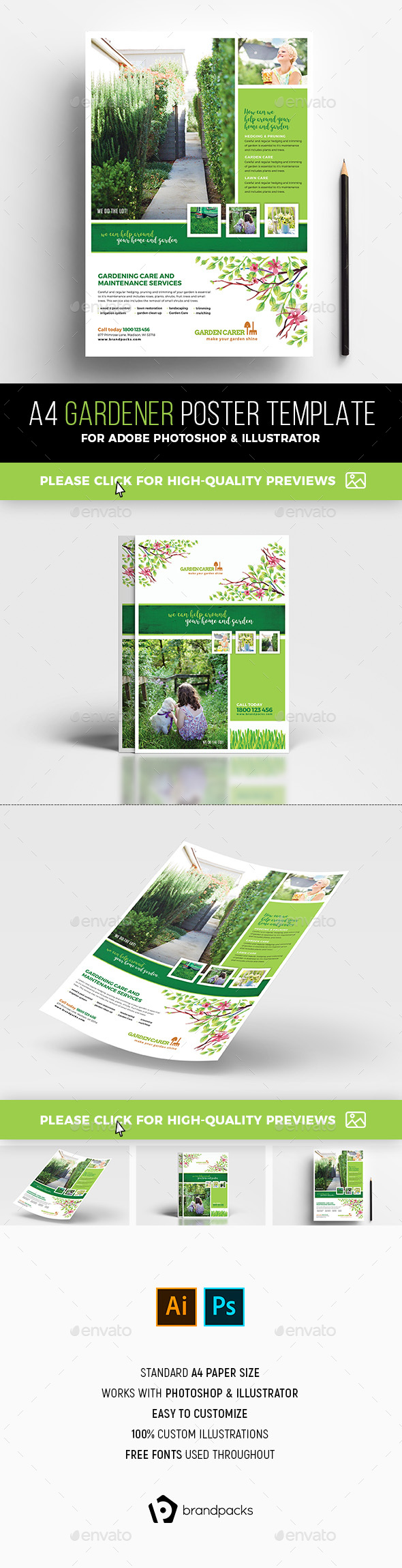A4 Gardener Poster / Advertisement Template - Corporate Flyers