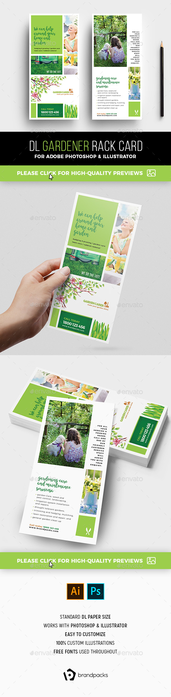 Gardener Rack Card Template - Corporate Flyers