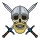 Skull with Beard Crossed Swords and Helmet - GraphicRiver Item for Sale