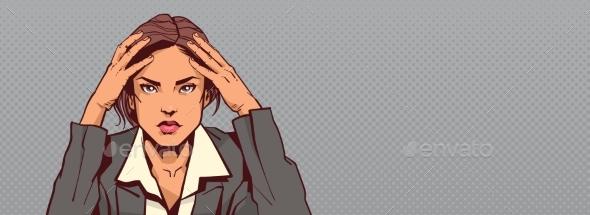 Portrait of Sad Business Woman Holding Head - Miscellaneous Vectors