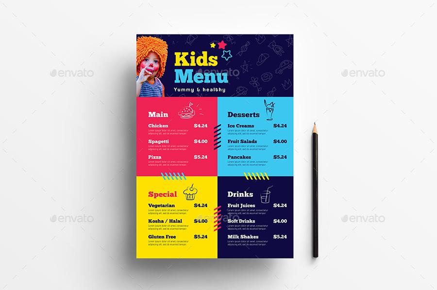 Kid\'s Menu Template by BrandPacks | GraphicRiver