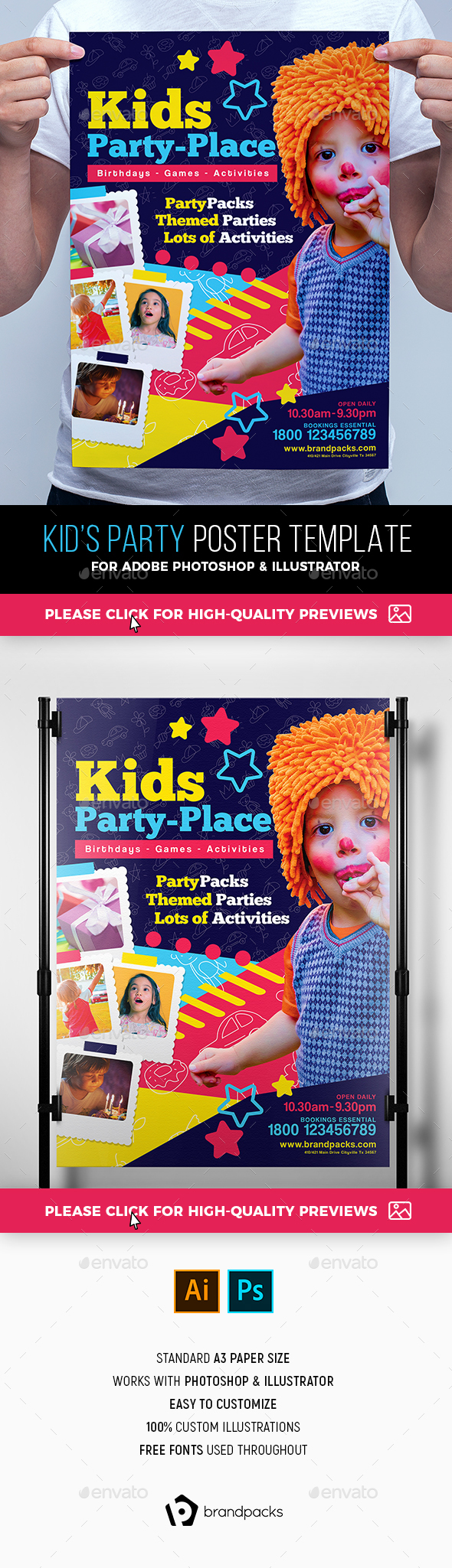 Kid's Party Poster Template - Clubs & Parties Events