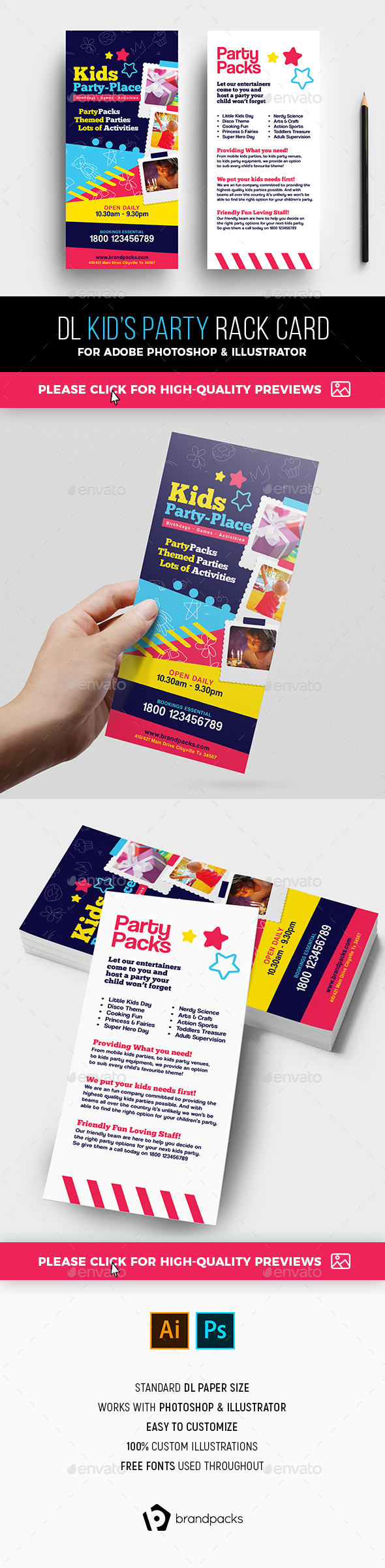 Kid's Party Rack Card Template - Clubs & Parties Events
