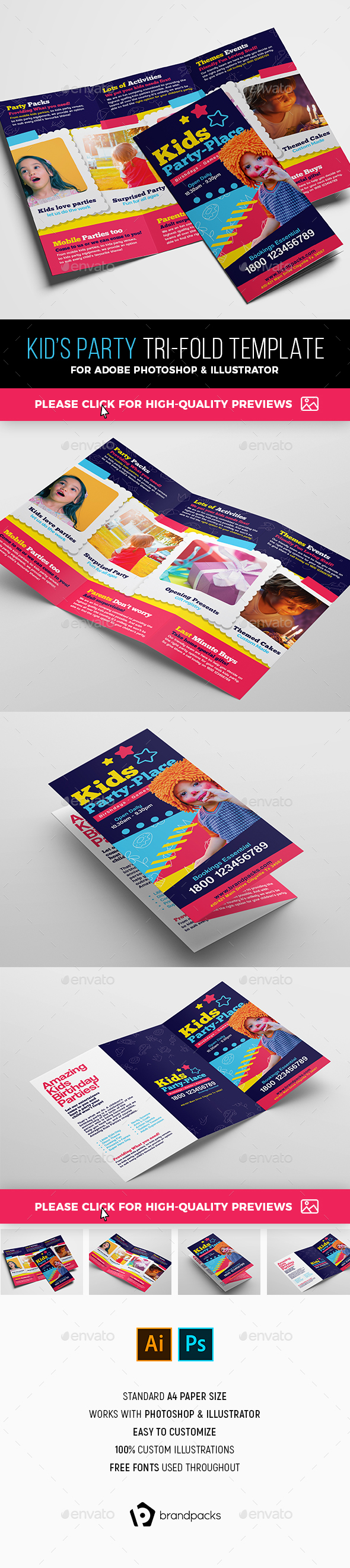 Kid's Party Tri-Fold Brochure Template - Corporate Brochures