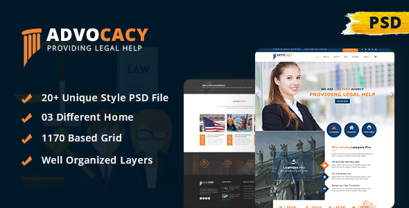 Advocacy - Legal Lawyer Law Firm Attorney Business PSD Template