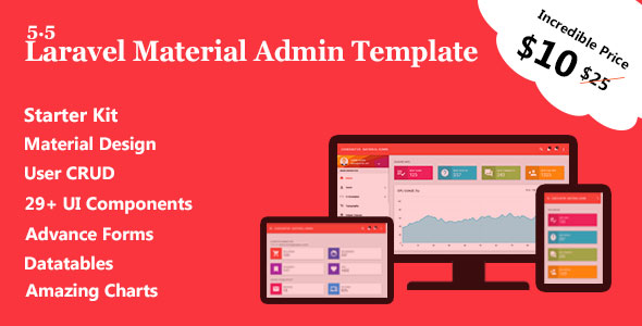 Laravel Material Admin Template + User CRUD