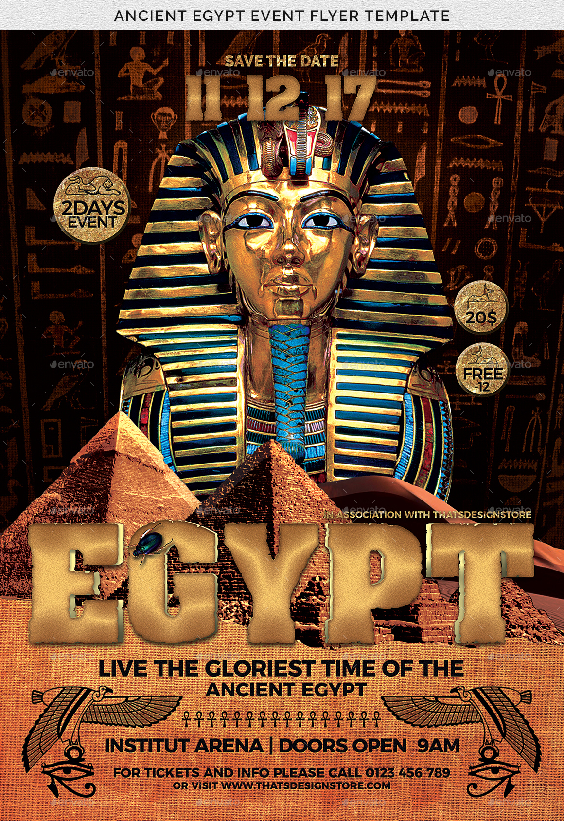 ancient egypt event flyer template by lou606