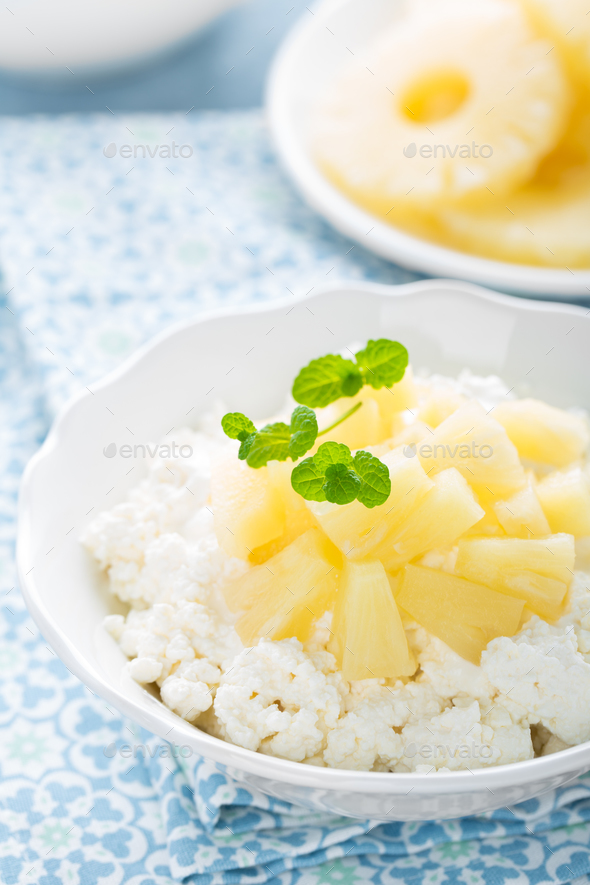 Cheese cottage dessert, curd with pineapple and yogurt - Stock Photo - Images