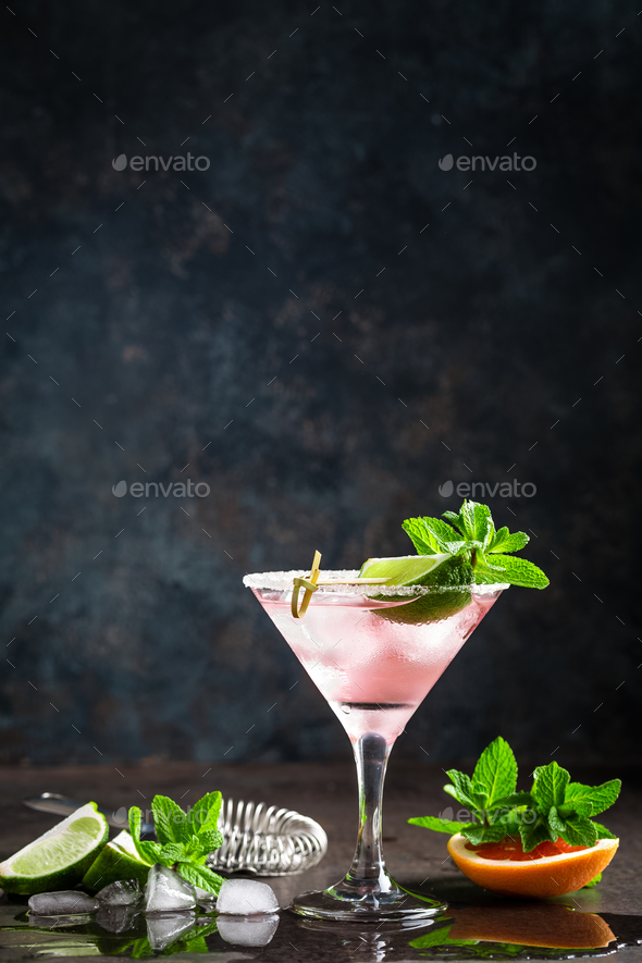 Margarita cocktail with salted rim, fresh lime and grapefruit juice - Stock Photo - Images