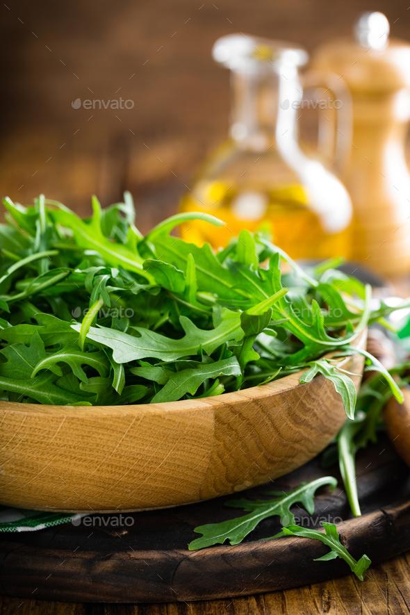 Arugula leaves, rucola - Stock Photo - Images