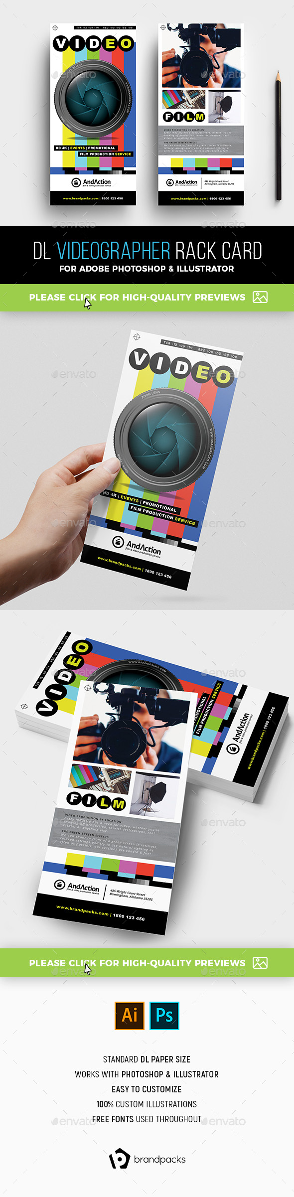 Videographer Rack Card Template - Corporate Flyers