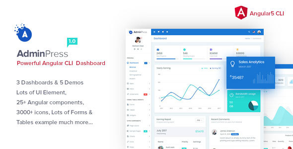 Admin Press Angular CLI Admin Template - Admin Templates Site Templates