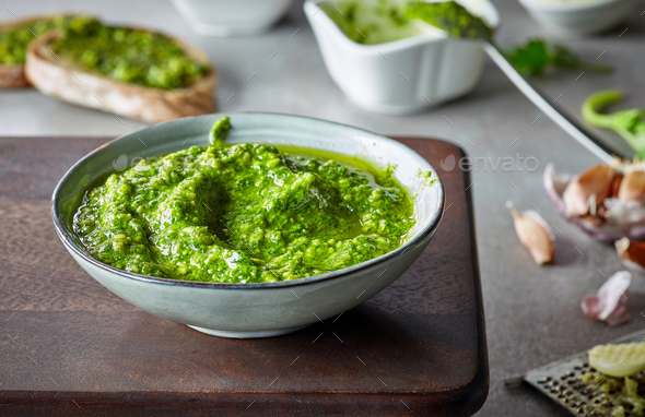 bowl of basil pesto - Stock Photo - Images